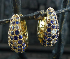 Estate 18K Yellow Gold  Fine Sapphire and Diamond Huggie Earrings
