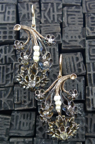 Antique Georgian Rose Cut Diamond and Pearl Earrings