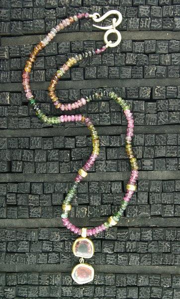 Nava Zahavi 24K Yellow Gold and Watermelon Tourmaline Necklace