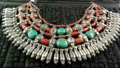 Old Tribal Necklace of Silver, Coral and Turquoise