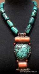 Coral and Turquoise Tribal Necklace