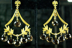 Jamie Wolf Smoky Quartz and Diamond Chandelier Earrings in 18K Yellow Gold