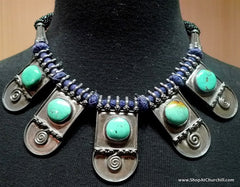 Tribal Necklace with Five Square Turquoise Stones