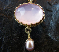 Becky Kelso 14K Yellow Gold and Pink Quartz Pearl Necklace