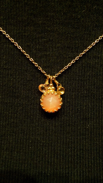 Becky Kelso Peach Moonstone Necklace 14K