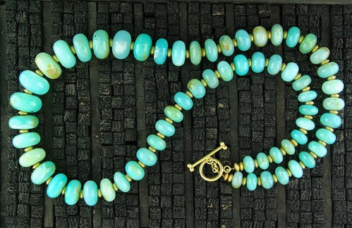 Churchill Private Label Designs 22K Yellow Gold and Peruvian Opal Necklace