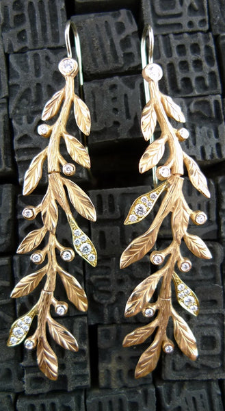 Jamie Wolf Vine Diamond Earrings in 18K Rose and Yellow Gold