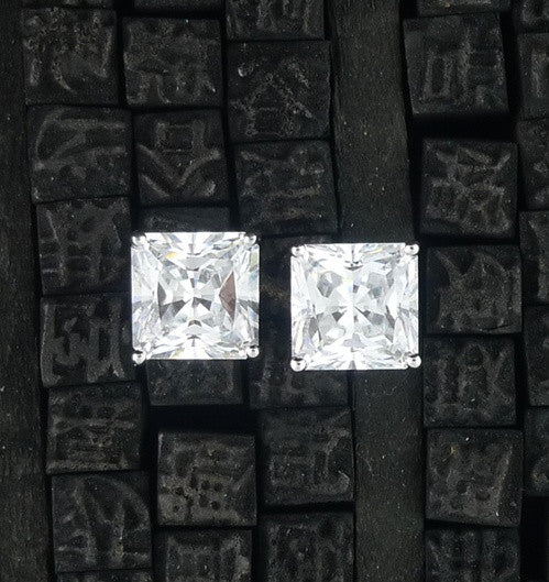 Jardin - Princess Cut 9MM CZ Earrings