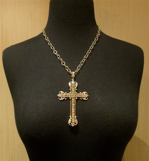 Loree Rodkin Large Vatican Cross in 18K Yellow Gold with Fancy Colored and White Diamonds