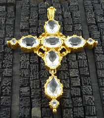 Julie Baker Large Crystal and 18K Yellow Gold Cross Pendant