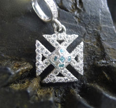Loree Rodkin 18K White Gold and Blue and White Diamond Tiny Maltese Cross Pendant with Diamond Bale