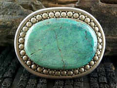Antique Sterling Silver and Turquoise Zanzibar Buckle