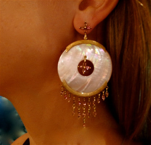 Pade Vavra Mother of Pearl Discs, 18K YG and Pink Tourmaline Earrings