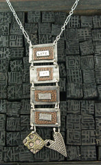 Dana Ruth Sterling Silver, Brass, and Copper Hanging Message Pendant Necklace