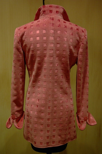 Quadrille Custom Hacking Jacket in Silk Velvet - Pink Squares