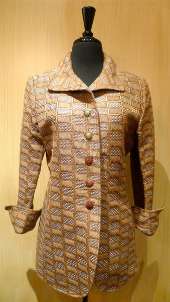 Quadrille Blue/Cocoa Geometric Custom Hacking Jacket