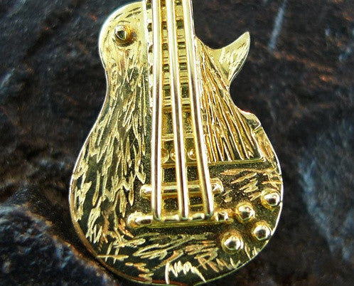 Mia and Ko. Guitar Necklace/Brooch in 18K Yellow Gold