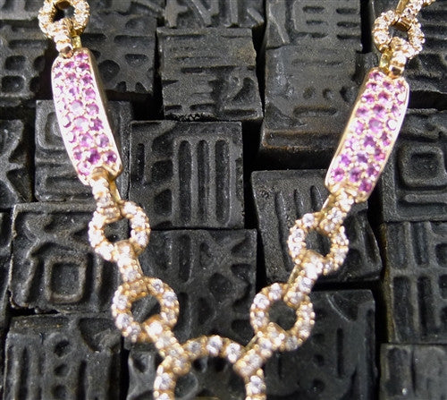 Robert Wander 18K Rose Gold, Pink Sapphire, and Diamond Link Chain Necklace
