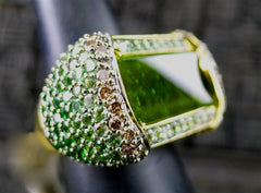 Robert Wander Crystal Candy Ring of Green Tourmaline, Tsavorite Garnets, and Champagne Diamonds in 18K Gold