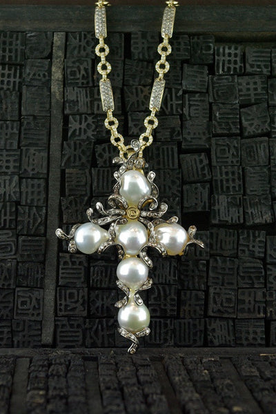 Robert Wander 18K Gold South Sea Pearl Cross Pendant with Chocolate Diamonds