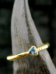 Kimarie Triangular Blue Topaz Stacking Ring in 22K Yellow Gold