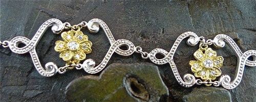 Jamie Wolf 18K White and Yellow Gold Scroll and Flower Diamond Bracelet