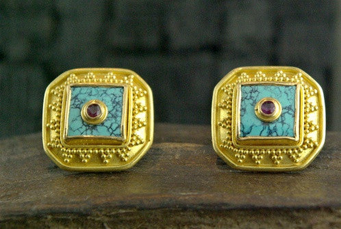 Carolyn Tyler Turquoise Inlay Cufflinks with Rubies in 22K Yellow Gold