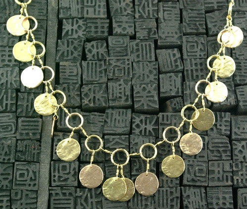 Dominique Cohen Coin Fringe Necklace in 18K Yellow and Rose Golds