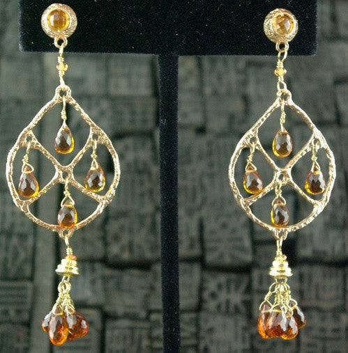 Dominique Cohen 18K Yellow Gold and Citrine Dreamcatcher Earrings