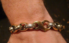 Heston Men's 18K Yellow Gold and Sterling Silver Rolo Link Bracelet