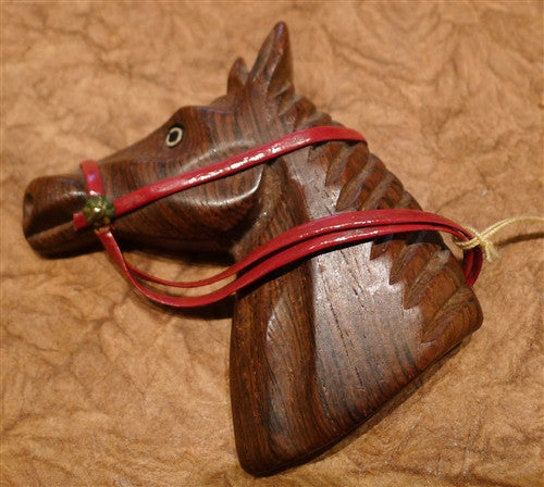 Estate Vintage Carved Wooden Horse Head Brooch/Pin