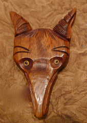 Vintage Estate Carved Wooden Fox Head Brooch/Pin