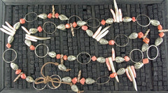 Melissa Joy Manning Hand Made Sterling Silver Coral and Shell Necklace