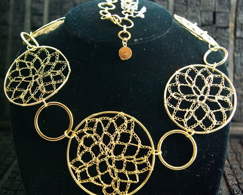 Elizabeth Gillette Crochet Wire Goldtone Necklace