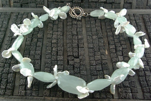 Churchill Private Label Designs Pearl and Chalcedony Necklace