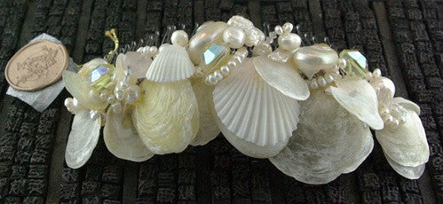 LA Shell Hair Comb with Swarovski Crystals and Pearls