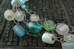 Janet Kuemmerlein Art Glass and Silver Necklace
