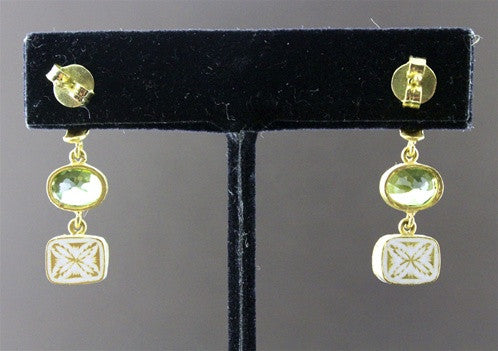 Susan Gordon Green Tourmaline and Diamond Earrings in  22K Gold