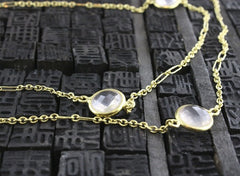 Susan Gordon Faceted Rose Quartz Stone Station Necklace in 22K Yellow Gold
