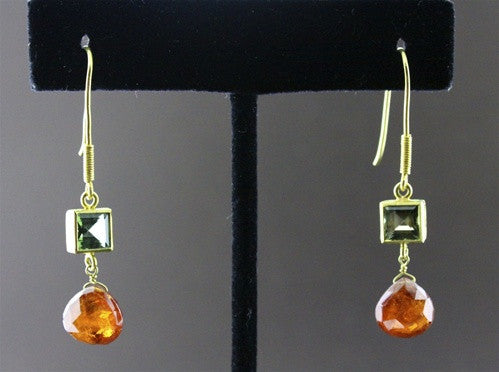 Susan Gordon Citrine and Green Tourmaline Earrings in 22k Yellow Gold