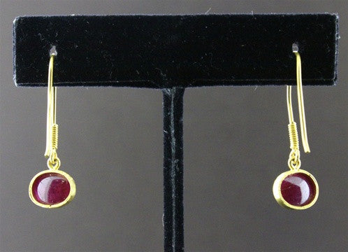 Susan Gordon Cabochon Ruby Earrings 22k Yellow Gold