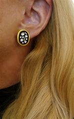 Yossi Harari Sara Clip Earrings of 24K Yellow Gold, Oxidized Gold, and Rose Cut Diamonds