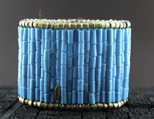 Churchill Private Label Turquoise Cuff Bracelet with 18K Gold