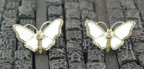 Umlaut Butterfly 18K Yellow Gold with White Enamel and Diamond Earrings