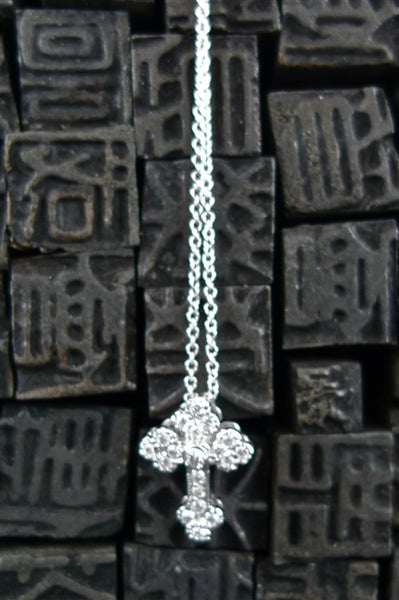 Jude Frances 18K White Gold and Tiny Gothic Diamond Cross Pendant