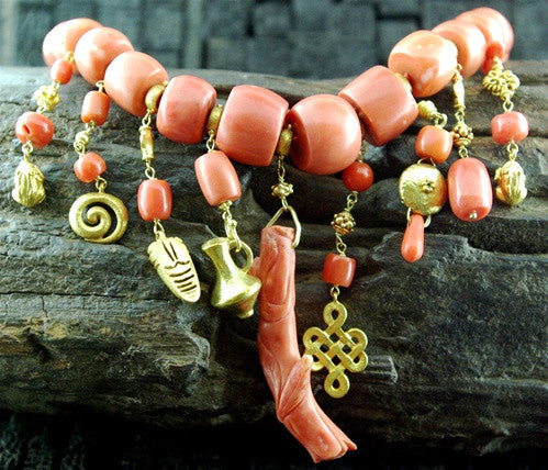 Paola Ferro 18K Yellow Gold Charm Necklace with Antique Coral Beads