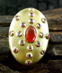 Paola Ferro 18K Yellow Gold Pendant/Clasp with Fire Opal and Pink Sapphires