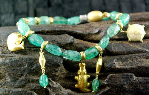 Paola Ferro Emerald and 18K Yellow Gold Charm Bracelet
