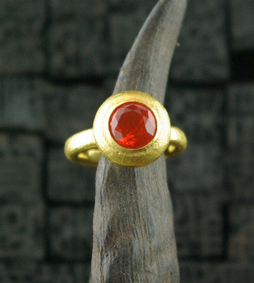 Paola Ferro 18k Round Faceted Mexican Fire Opal Ring