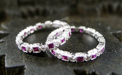 Beverly K 18K White Gold, Diamond and Ruby Eternity Band Ring